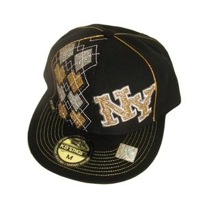 49bbaf7c2e6 NY Glitter Hat KB Ethos M Black Cotton Cap New